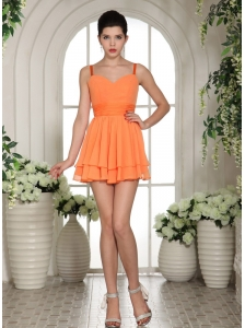 A-line Straps Mini-length chiffon Orange Prom/Homecoming dress