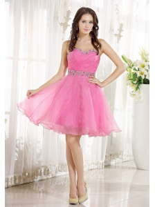 Bay Saint Louis Beaded Decorate Sweetheart Neckline and Waist Pink Organza Knee-length 2013 Prom / Homecoming Dress