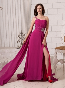 Fuchsia Empire Beaded Decorate Shoulder One Shoulder Watteau Train Prom Gowns For Custom Made In Innerleithen UK