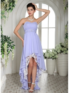 Lilac Chiffon Beaded Decorate Waist High-low Prom Dress For Custom Made In Ronan