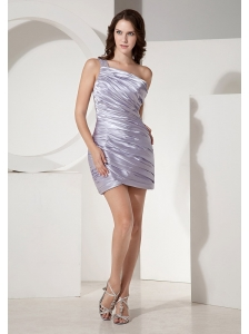 Montgomery Beaded Decorate Shoulder Lilac Column Prom Dress With Ruch Decorate Satin
