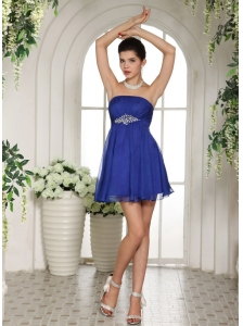 Peacock Blue Empire Beading 2013 Prom Dress With Mini-length In Mississippi