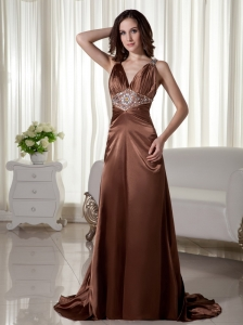 Brush/SweepTaffeta Beading Column / Sheath V-neck Prom Dress Brown