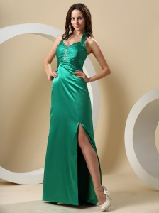 Dark Green High Slit Halter Ruched Bodice and Beaing In Dubbo NSW For Prom Dress