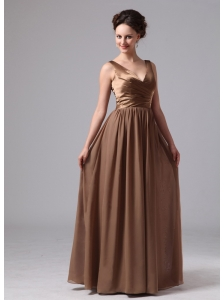 Chocolate V-neck Mother Of The Bride Dress For Custom Made Satin and Chiffon In Blairsville Georgia