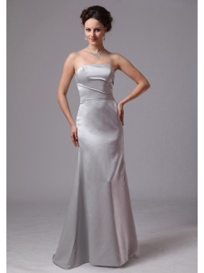 Simple Silver Column Satin Brush Train Mother Of The Bride Dress For Customize In Clayton Georgia