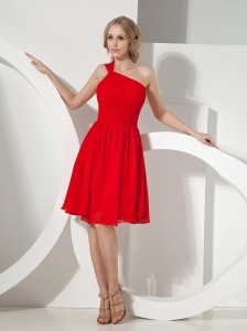 2013 Red One Shoulder Knee-length Chiffon Bridesmaid Dress