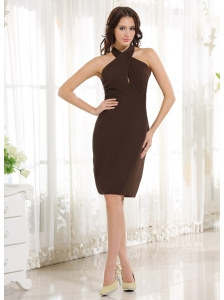 2013 Simple Halter Column Brown Chiffon Knee-length Prom Cocktail Dress