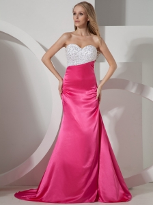2013 Sweetheart Beaded Hot Pink Prom Dress With Court Train