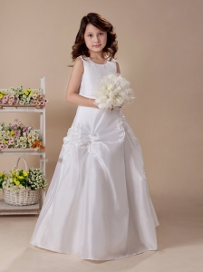 Appliques Scoop-neck Taffeta White 2013 Custom Made Wedding Party Flower Girl Dress