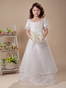 Appliques Short Sleeves Square Organza 2013 Flower Girl Dress For Wedding Party