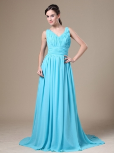 Aqua Blue V-neck and Ruched Bodice For Modest Bridesmaid Dress