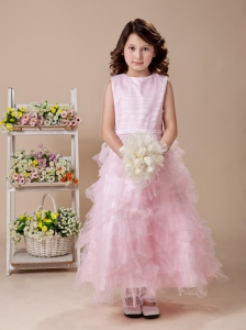 Baby Pink A-Line Ruffles High Nack 2013 New Arrival Custom Made Flower Girl Dress