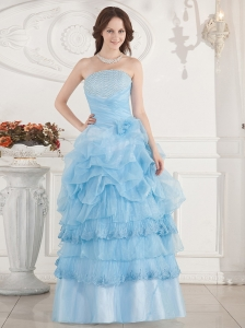 Beaded Decorate Bust and Ruffled Layers For Prom Dress