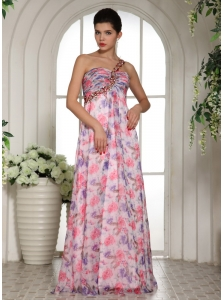Beaded Decorate One Shoulder Printing Chiffon Celebrity Prom Dress For Custom Made