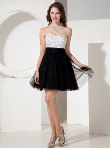 Beaded Decorate Sweetheart Black Tulle Mini-length Short Prom Dress