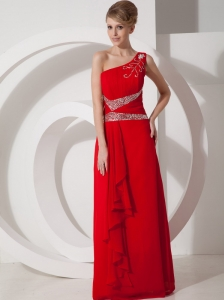 Beading One Shoulder Chiffon Red Column / Sheath Floor-length Evening Dress