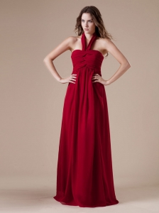 Beautiful Red Bridesmaid Dress With Halter Neckline Ruch Decorate