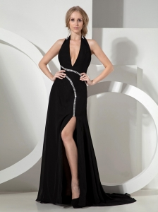 Black Halter High-Slit Prom / Evening Dress With Court Train For Custom Made