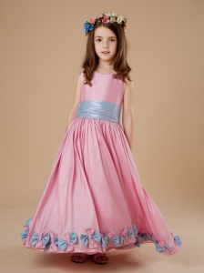 Bowknot Scoop Pink A-LineTaffeta Floor-length Flower Girl Dress
