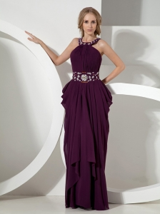 Column Scoop Dark Purple Chiffon Prom Dress With Beaded Decorate Waist
