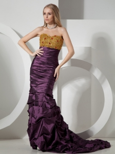 Custom Made Beaded Decorate On Taffeta Brush Train Sweetheart Neckline Dark Purple Prom Dress