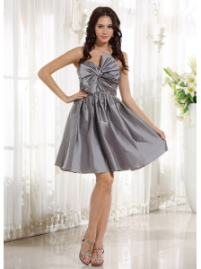 Custom Made Gray Prom Cocktail Dress With Bow In Spring