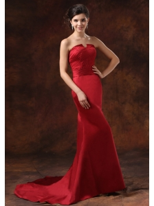 Custom Made Mermaid Red Satin Prom Dress With Brush Train Strapless For 2013 Prom