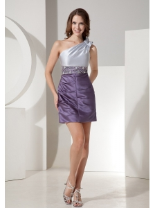 Custom Made Silver and Dark Purple Prom Dress With One Shoulder Neckline Beaded Decorate Waist