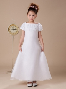 Custom Made Square Short Sleeses Flower Girl Dress White Ankle-length Wedding Party