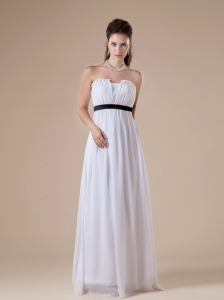 Custom Made White Chiffon Bridesmaid Dress Strapless Neckline Ruch and Black Sash Decorate