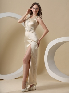 High Slit and Embroidery For Scoop Evening Dress With Champagne
