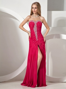 High Slit Beaded Decorate Bust and Ruch Bodice For Evening Dress