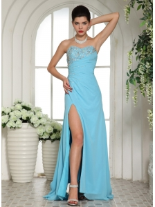 High Slit Sweetheart Beaded For Aqua Blue Prom / Evening Dress Brush Train Customize
