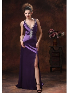 High Slit V-neck Beaded Decorate Shoulder Purple For Custom Made Evening Dress