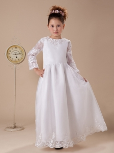 Lace A-Line White Scoop Organza and Taffeta Flower Girl Dress Long Sleeves
