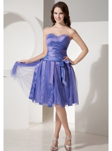 Lace-up Custom Made Sweetheart Neckline Blue Prom Dress With Beaded and Bow Decorate Tulle
