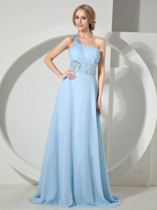 Light Blue One Shoulder Appliques With Beading Chiffon Prom / Evening Dress With Brush Train