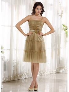 Modest Champagne Spagetti Straps Prom Dress With Sash