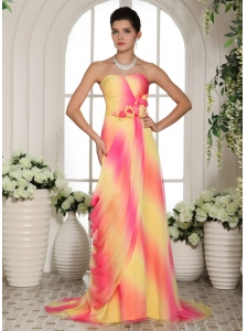 Multi-color Hand Made Flowers Sweetheart Prom Gowns With Brush Train