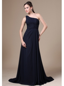 Navy Blue One Shoulder Neckline For Wedding Party With Chiffon Bridesmaid Dress