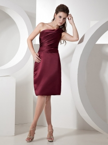 One Shoulder Burgundy Knee-length 2013 Bridesmaid Dress