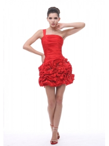 One Shoulder Hand Made Flowers With Beading Ruch Mini-length Red 2013 Prom / Cocktail Dress