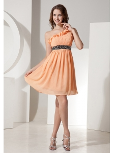 Orange Chiffon One Shoulder Prom Dress With Mini-length Beaded Decorate Waist