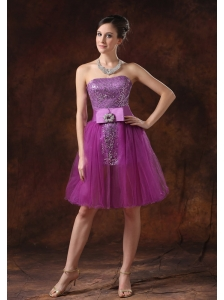 Paillette Over Skirt Strapless Column / Sheath Fuchsia Mini-length Prom Dress Sashes/Ribbons