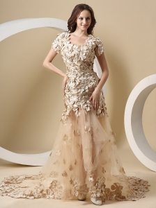 Perfect Champagne Wedding Dress With Special Fabric Short Sleeves