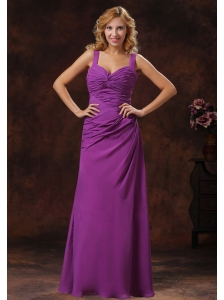 Purple Straps Ruched Bodice Discount Bridesmaid Dress Floor-length
