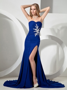 Royal Blue Appliques Ruch Bodice and HIgh Slit For Prom Dress