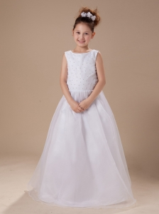 Scoop Beading Cute Organza White Floor-length Flower Girl Dress