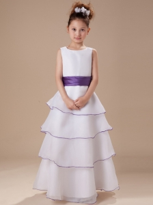 Scoop Neckline A-line Ruffles Flower Girl Dress With Hand Made Flowers In Back